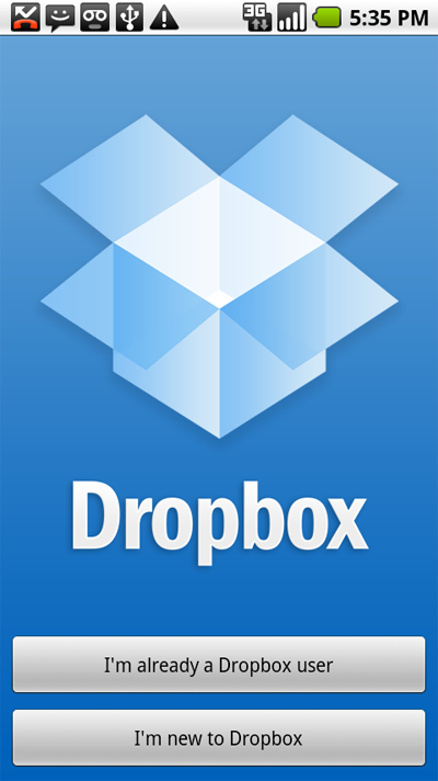 Screenshot of Dropbox