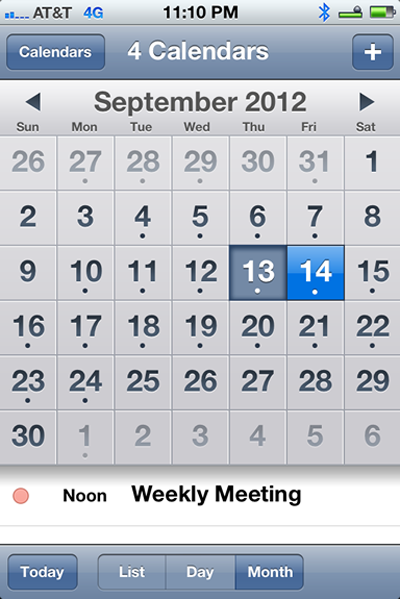 Screenshot of iphone calender