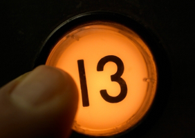 A button pushes a 13 button