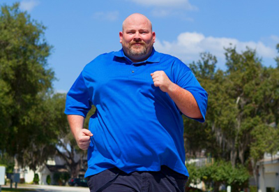 A fat man running