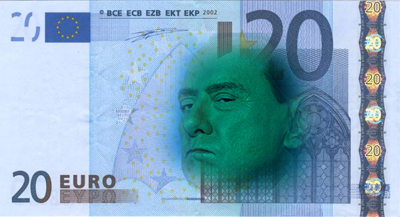 Euro note with Silvio