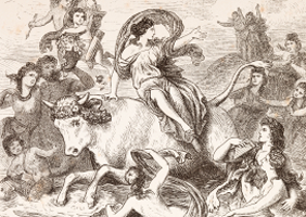 Drawing of Europa with Zeus as bull