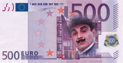 Euro note with Hercule Poirot