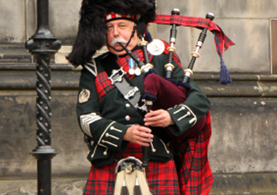 Man with bagpipes