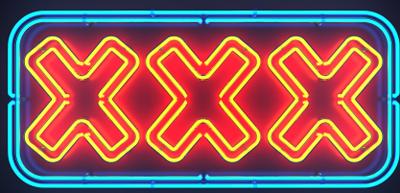 Sleazy neon XXX sign