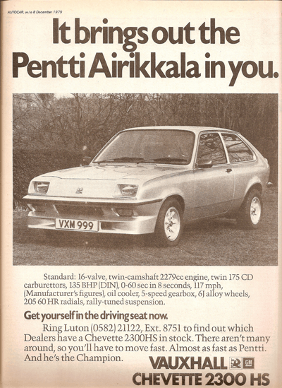 Old newspaper ad of the Vauxhall Chevette 2300