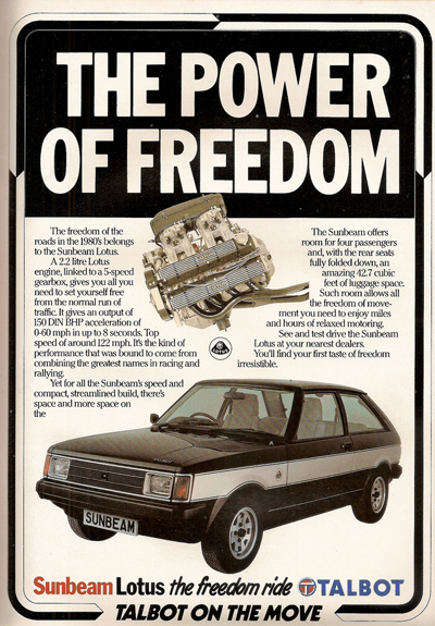 Old ad for Talbot Sunbeam