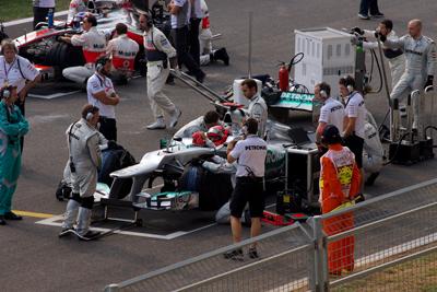 F1 car takes a pit stop