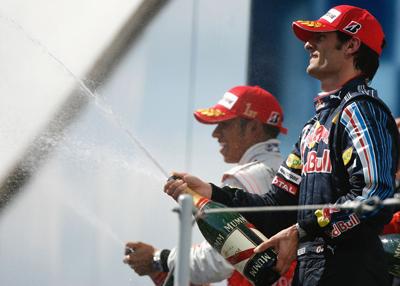 Mark Webber and Hamilton on Podium