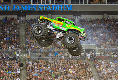 Monster truck flying through air