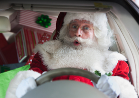 Santa driving home for Christmas