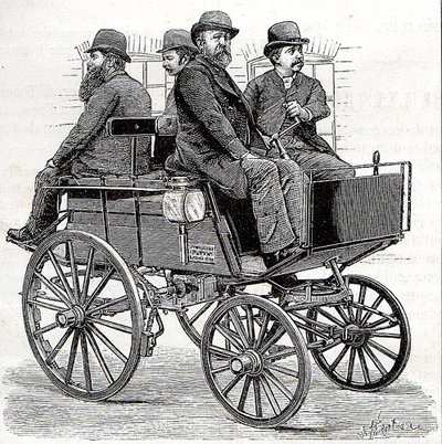 19th century men on a cart