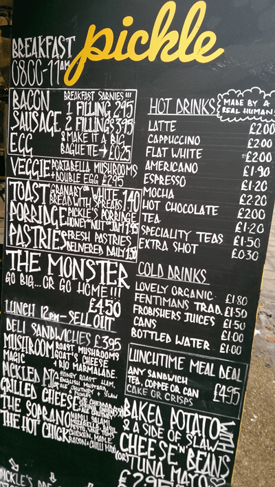 Image of street food menu
