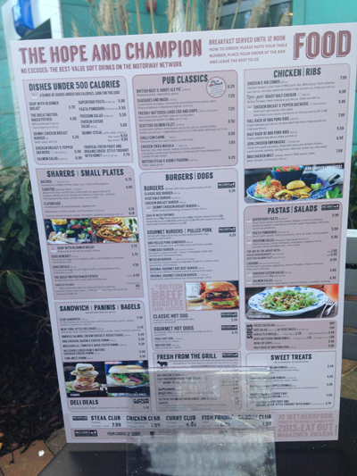 Image of menu at the Hope & Champion