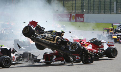 Image of Grosjean F1 crash
