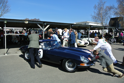 Image of E-type being pushed