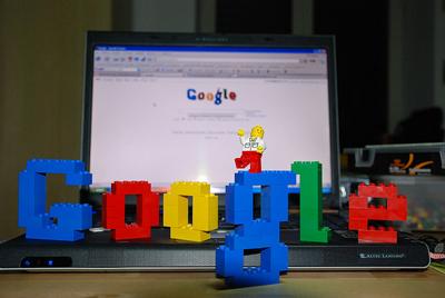 Image of Google doodle made of lego