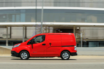 Image of Nissan E-NV200 electric van in transit