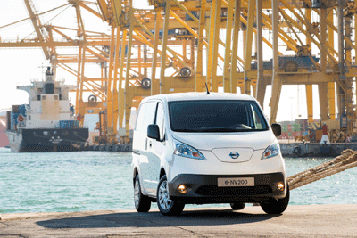 Image of E-NV200 electric van at a dock