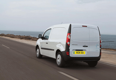 Image of Kangoo ZE electric van in transit from rear