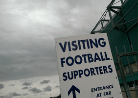 Image of sign for visiting football fans