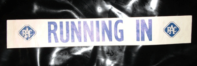 Image of 'running in' notice