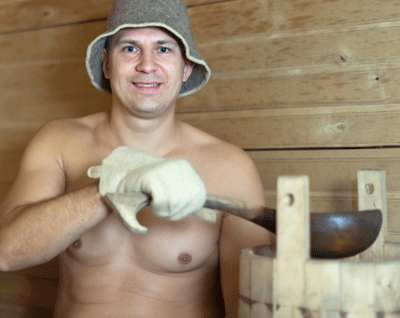 Image of a man in a sauna