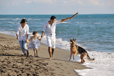 Family with dog at the beach