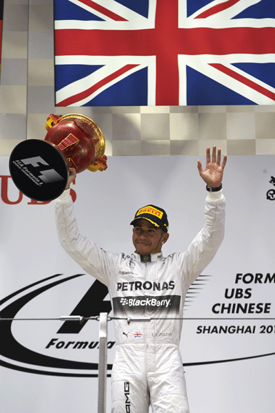 Image of Lewis Hamilton winning at F1