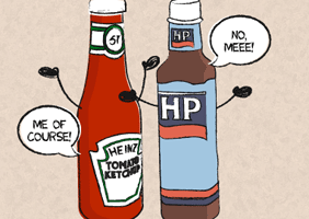 Image of drawing of ketchup and brown sauce