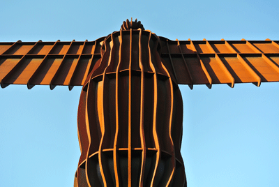 Image of the Angel of the North from beneath