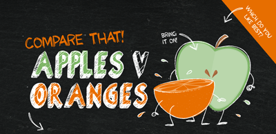Image of a cartoon apple and orange