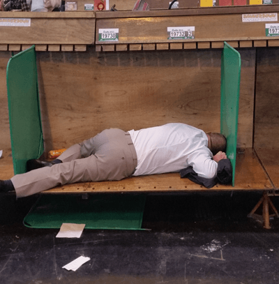 Man asleep in dog cubby hole