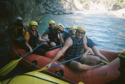 Image of a group white water rafting in Turkey