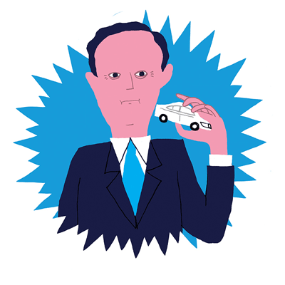 Image of David Cameron holding a Volkswagen Passat