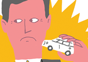 Image of Nick Clegg holding a car