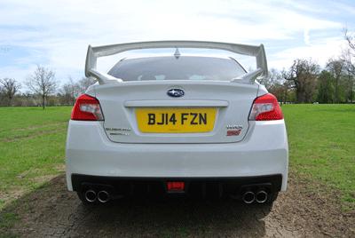 Image of Subaru WRX STI from rear