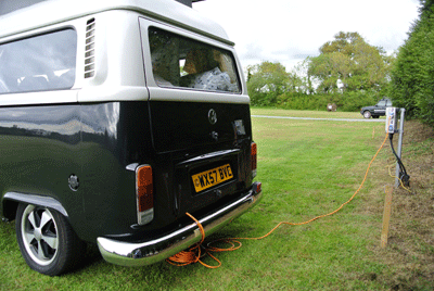 Image of Campervan plugged in