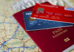 Image of a passport and a map