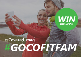 Image of a jogging couple taking a selfie with #gocofitfam across it