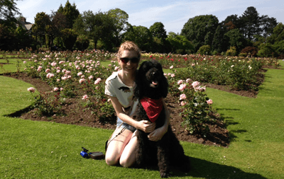 Image of Abbie Laughton-Coles with her dog, Molly.