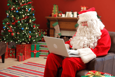 Image of Santa on a laptop