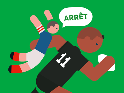 Image of small french player tackling massive rugby player