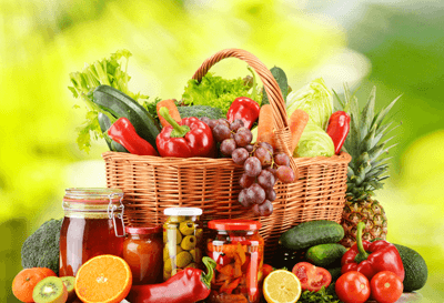 A delicious selection of fruit and vegetables in a hamper