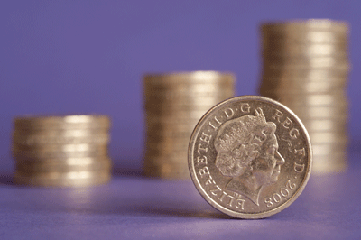 Images of pound coins on a purple background