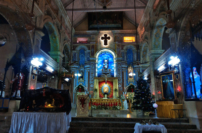 Image of church in Kerala at Christmas time