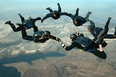 Image of a group of people skydiving