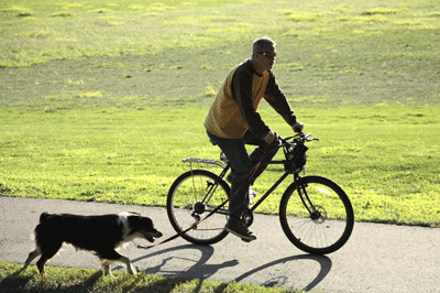 Image of a man cycling with a dog