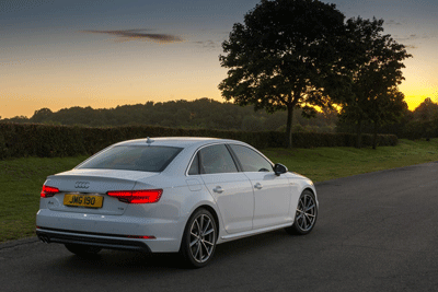 Image of an Audi A5 at dusk