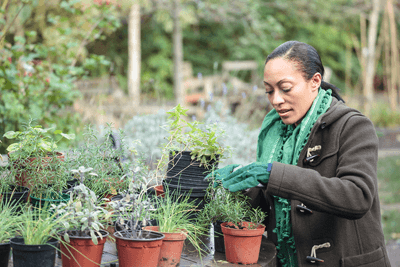 A woman potting plants in an urban community garden